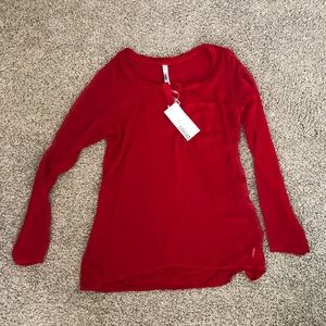 Miilla (NWT) Mixed Media Red Henley Top Size M